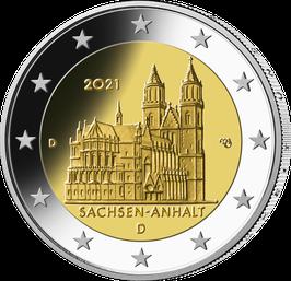 """2€-Münze 2021 """"Sachsen-Anhalt"""" Satz ADFGJ Spiegelglanz"""