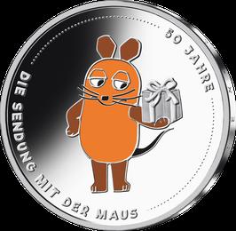 """20€-Silbermünze 2021 """"50 Jahre Sendung mit der Maus"""" Spiegelglanz"""