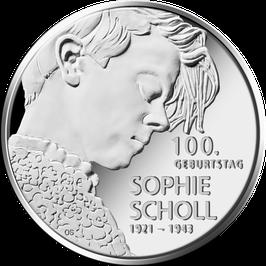 """20€-Silbermünze 2021 """"100. Geburtstag Sophie Scholl"""" Stempelglanz"""