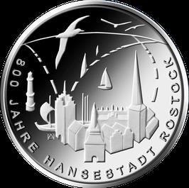 """20-Euro-Silbermünze """"800 Jahre Hansestadt Rostock"""" Stempelglanz"""