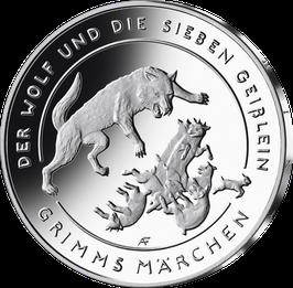 """20-Euro-Silbermünze """"Der Wolf und die sieben Geißlein"""" Spiegelglanz"""