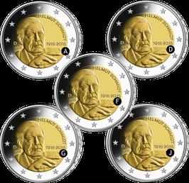"""2€-Münze """"100. Geburtstag Helmut Schmidt"""" 2018 Satz ADFGJ Spiegelglanz"""