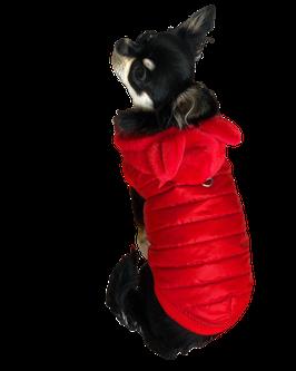 Jacke in Rot mit abnehmbarer Kapuze