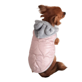 Jacke rosa mit Herzsteppung und abnehmbarer Kapuze