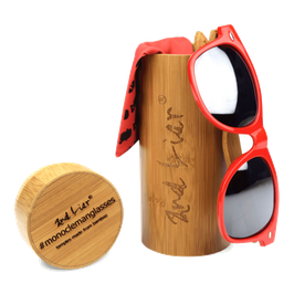 #MONOCLEMANGLASSES bamboo // silver on red
