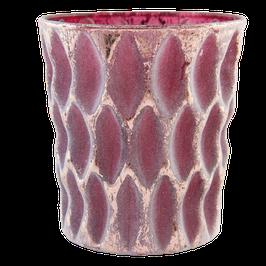 Teelichtglas aubergine