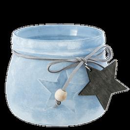 Teelichtglas matt blau