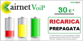 RICARICA CREDITO VOIP - 30 €