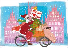 Radfahrer - Weihnachtsschwein