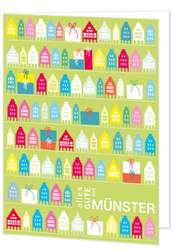 Muster mit Giebelhäuser und Geschenke - alles Gute aus Münster