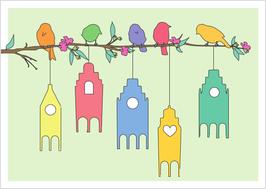 Vögel / Zweig / Häuschen