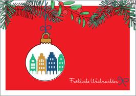 Kugel - Zweige rot – Fröhliche Weihnachten