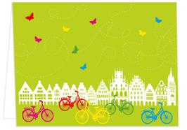 Giebelhäuser und Fahrräder