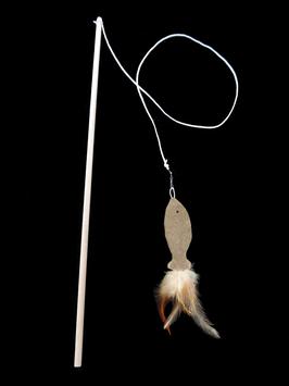 Catnip-Fisch-Angel mit Holzstab und auswechselbarem Anhänger