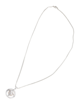 Hidden Globe - Short Silver Necklace with Pearl