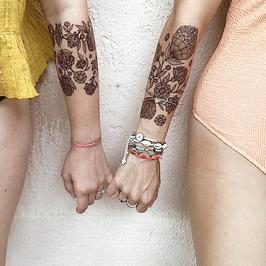 Rosary Floral temporary tattoo - black