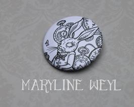 """badge broche """"Alice au pays des Merveilles"""" le lapin"""