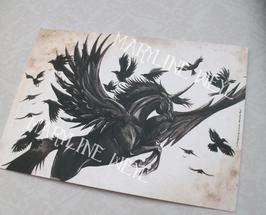 carte postale licorne noire ailée