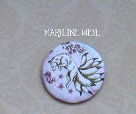 "badge broche renard ""kitsune blanc"" cerisier"