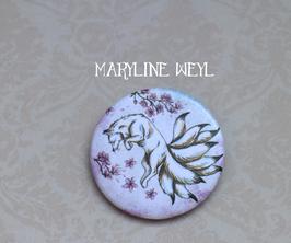 """badge broche renard """"kitsune blanc"""" cerisier"""
