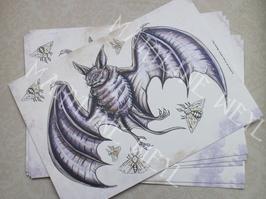 """carte postale """"le grimoire des étranges créatures""""- chauve-souris"""