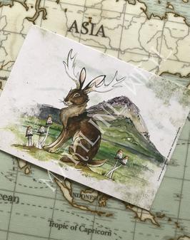 """carte postale jackalope """"le grimoire des animaux fabuleux"""""""