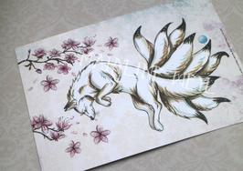Carte Postale renard japonais kitsune et cerisier