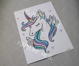 Carte Postale Licorne arc en ciel