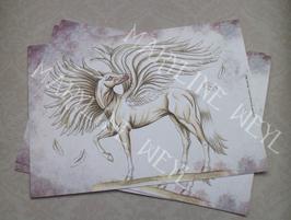 """carte postale """"le grimoire des étranges créatures""""- cheval ailé"""