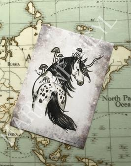 carte postale licorne des bois Appaloosa