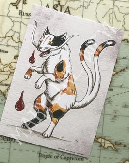 carte postale chat japonais Bakeneko