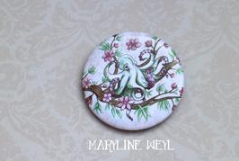 badge broche pieuvre et fleurs