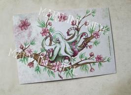 """carte postale """"le grimoire des étranges créatures""""- pieuvre et cerisier"""