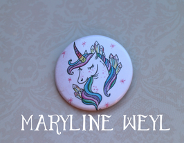 badge broche licorne arc en ciel
