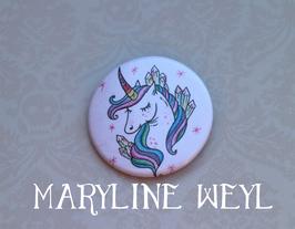 badge broche licorne arc en ciel