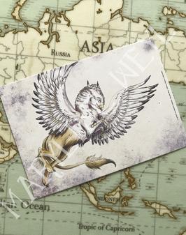"""carte postale griffon """"le grimoire des animaux fabuleux"""""""