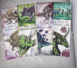 """4 Marque-pages """"le grimoire des dinosaures oubliés"""""""