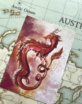 Carte Postale dragon d'Asie rouge