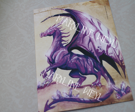 Carte Postale Dragon violet