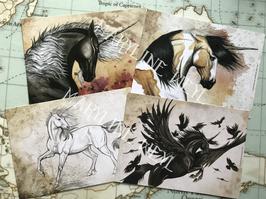 """lot 4 cartes postales """"le grimoire des licornes"""""""