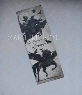 """marque page """"licorne noire ailée"""""""