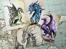 """Lot de 4 cartes postales """"le grimoire des Dragons"""""""