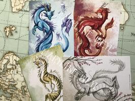 Lot de 4 cartes postales dragons dAsie