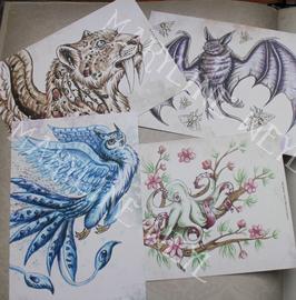 """carte postale """"le grimoire des étranges créatures"""" lot de 4"""