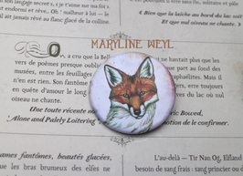 badge broche renard roux