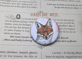 badge broche renard roux