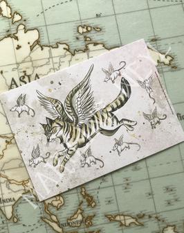 carte postale chat ailé et souris volante