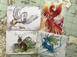 """Lot de 4 cartes postales """"le grimoire des animaux fabuleux"""""""