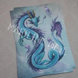 Carte Postale dragon d'Asie bleu