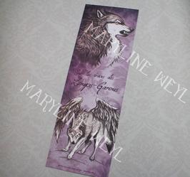 """marque page """"loup gris ailé"""""""